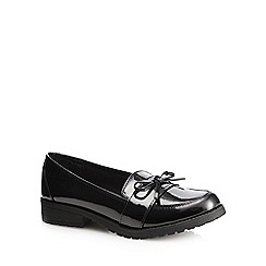 Debenhams - Girls' black patent loafer school shoes