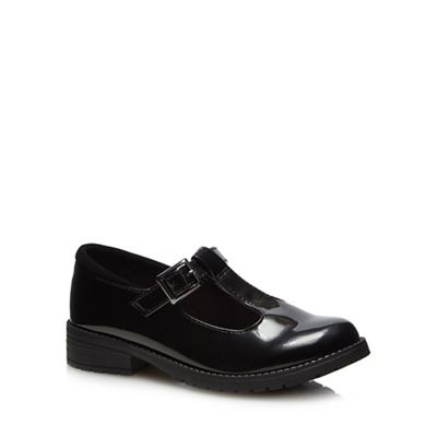 Debenhams - 'Girls' black patent T-bar school shoes