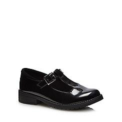 Debenhams - 'Girls' black patent T-bar school shoes