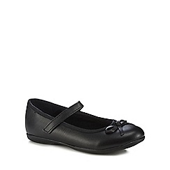 Debenhams - 'Girls' black leather ballet pump school shoes