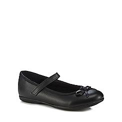 Debenhams - 'Girls' black leather ballet pump school shoes