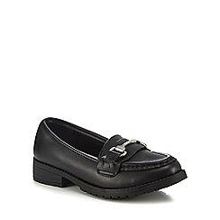 Debenhams - Girls' black leather loafer school shoes