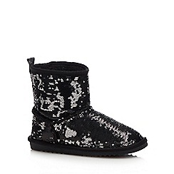 bluezoo - Girls' Black Sequin Ankle Boots