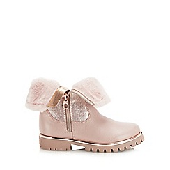Baker by Ted Baker - Girls' pink faux fur trim boots