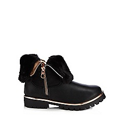 Baker by Ted Baker - Girls' black faux fur trim boots