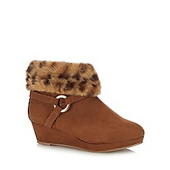bluezoo - Girls' tan wedge ankle boots
