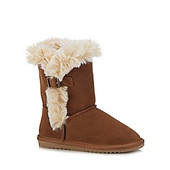 Mantaray - Girls' tan suede ankle boots