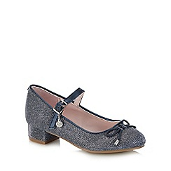 J by Jasper Conran - Kids' navy glitter block heel Mary Jane shoes