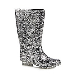 bluezoo - 'Girls' silver glitter wellies