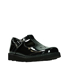 Clarks - Girls' black patent leather 'Crown' T-bar school shoes