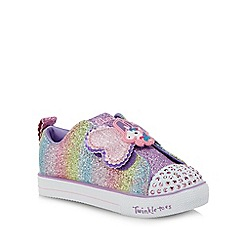 Skechers - Kids' pink 'Shuffle Lite' light up trainers