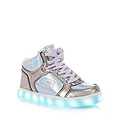 Skechers - Kids' silver 'Energy Lights' light up high top trainers