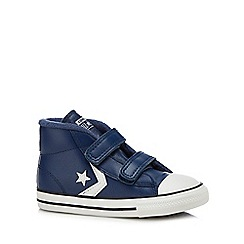 Converse - Boys' navy leather 'Star Player' hi-top trainers