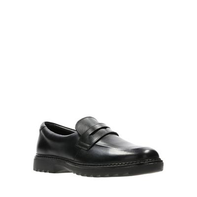 Clarks - Boys' black school leather 'Asher Stride' slip-on school black shoes 11cc82