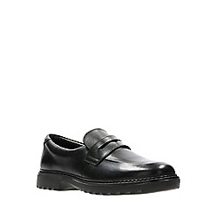 Clarks - Boys' black leather 'Asher Stride' slip-on school shoes