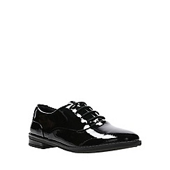 Clarks - Girls' black patent leather 'Drew Star' lace-up school shoes