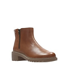 Clarks - Girls' tan leather 'Frankie Roam' ankle boots