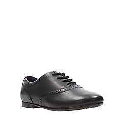 Clarks - Girls' black leather 'Jules Walk' lace-up school shoes