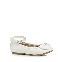 bluezoo - Girl's ivory glittery bow pumps