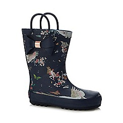 Baker by Ted Baker - Girls' navy pegasus print wellies