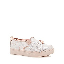 Baker by Ted Baker - Girls' Pink Floral Satin Slip-On Trainers