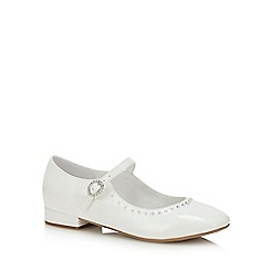 Occasions - Girls' White Patent Diamante Pumps