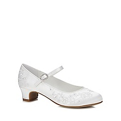 Occasions - Girls' White Satin Floral Embroidered Pumps