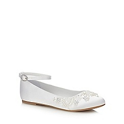 Occasions - Girls' White Satin Bead Embellished Pumps