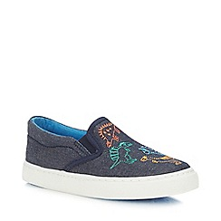 bluezoo - Boys' Navy Denim Dinosaur Embroidered Slip-On Trainers