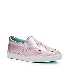 bluezoo - Girls' Pink Unicorn Slip-On Trainers