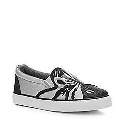 bluezoo - Girls' Multicoloured Glitter Zebra Slip-On Trainers