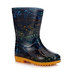bluezoo - Kids' Navy Dinosaur Print Wellies