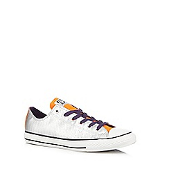 Converse - Girl's silver 'All Star' metallic weave trainers