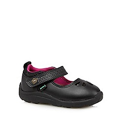 Kickers - Girl's black leather rip tape shoes