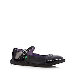 Kickers - Girls' black leather scalloped mary jane shoes
