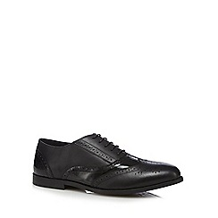 Debenhams - Black mixed leather brogue school shoes
