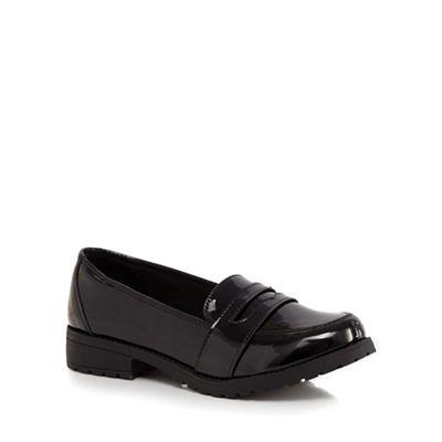 Debenhams - Girls' black patent loafers