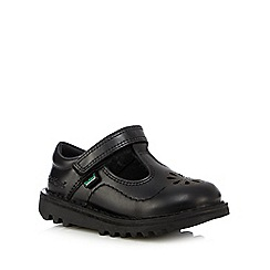 Kickers - Girls' black floral cut-out T-bar shoes
