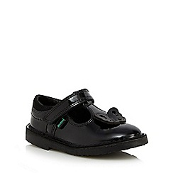Kickers - Girls' black butterfly applique T-bar shoes