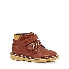 Kickers - Boys' tan rip tape boot shoes