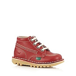 Kickers - Boys' red hi-top leather trainers