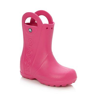 Crocs - Girl's bright pink handle wellies