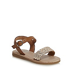 Mantaray - Girls' gold leather woven sandals