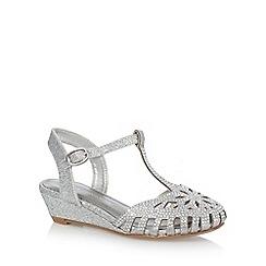 RJR.John Rocha - Girls' silver jewel t-bar caged toe wedge sandals