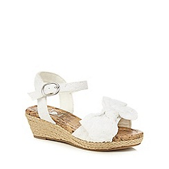 bluezoo - Girls' white broderie wedge sandals