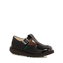Kickers - Girls' black leather school shoes