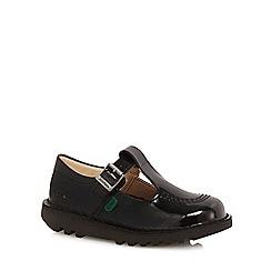 Kickers - Girls' black leather school shoes