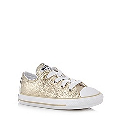 231010894620: Girls gold leather trainers
