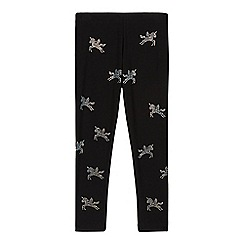 bluezoo - Girl's black diamante unicorn leggings