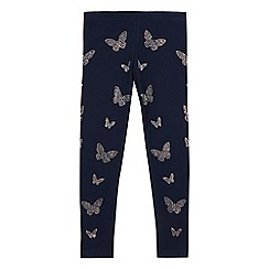 bluezoo - Girls' navy diamante butterfly leggings